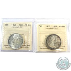 1966 & 1967 Canada 50-cent ICCS Certified MS-65. 2pcs