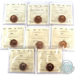 1981-1991 Canada 1-cent ICCS Certified  SP-64, 65 & 66 Red - 1981 SP-66, 1983 Near Beads SP-64, 1986