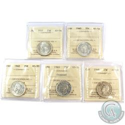 1937-1948 Canada 25-cent ICCS Certified - 1937 AU-58, 1940 AU-50, 1942 AU-50, 1943 VF-30 (cleaned) &