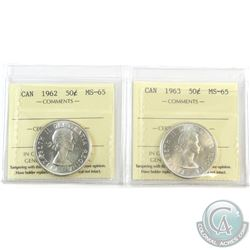 1962 & 1963 Canada 50-cent ICCS Certified MS-65. 2pcs