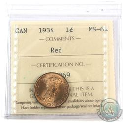 1934 Canada 1-cent ICCS Certified MS-64 Red