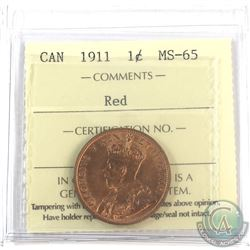 1911 Canada 1-cent ICCS Certified MS-65 Red