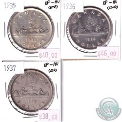 1935, 1936 & 1937 Canada Silver $1 in EF-AU Condition. Coins contain various impairments. 3pcs