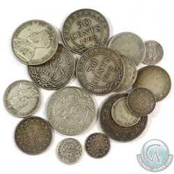 Group Lot of Newfoundland Silver Coinage - 3x 5-cent, 2x 10-cent, 4x 20-cent, 1x 25-cent & 6x 50-cen