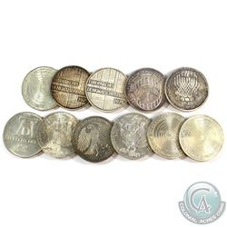 Lot of 11x Germany 5 Mark Silver Coins. You will receive 116 grams total of silver coinage.