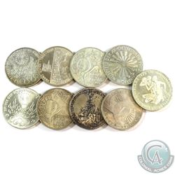 Lot of 9x Germany 10 Mark Silver Coins. You will receive 145 grams total of silver coinage.