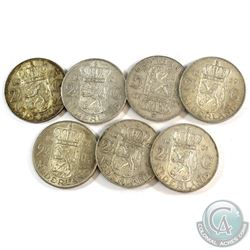 Lot of 7x Netherlands 2 1/2 Gulden Silver Coins. You will receive 107 grams total of silver coinage.