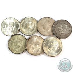 Lot of 7x Mexico 5 & 10 Pesos Silver Coins from the 1950's. You will receive 196 grams total of silv