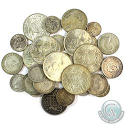 Lot of 28x Mixed Silver Coins from Australia. You will receive 178 grams total of silver coinage.