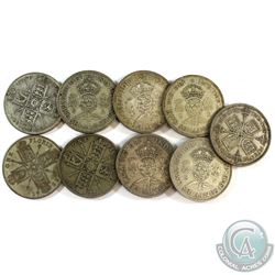 Lot of 9x Great Britain One Florin Silver Coins. You will receive 100 grams total of silver coinage.
