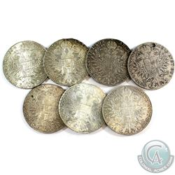 Lot of 7x Austria Restrike 1780 Thaler Silver Coins. You will receive 197 grams total of silver coin