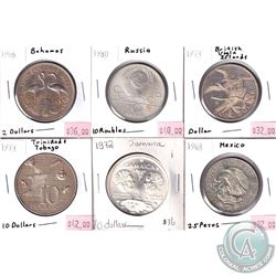 Lot of World Silver Coins from Different Countries. You will receive 1966 Bahamas 2 Dollars, 1968 Me