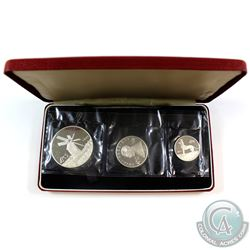 Scarce! 1977 Republic of Malta 3-coin Proof Sterling Silver Set. Only 2500 sets minted!