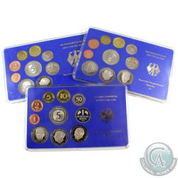 1978, 1979 & 1984 Germany 9-coin Sets in Hard Plastic Holders (Plastic is scuffed). 3pcs