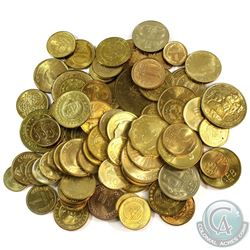Group Lot of 80x Mixed Brass Coloured World Coins.