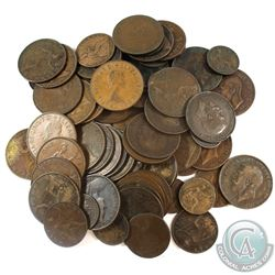 Group Lot of 73x Mixed Denomination Great Britain Copper Coinage.