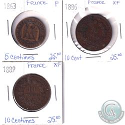 Lot of 3x France Coinage Dated 1863, 1886 & 1889 in F or XF as per holders. 3pcs