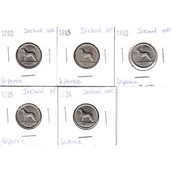 Lot of Ireland 6 Pence 1934-1950 EF to UNC as per holders. 5pcs