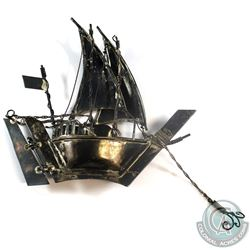 "Vintage 3D Sterling Silver Clipper Sailboat Miniature.  Measures 5"" in length by 4 1/2"" In height, a"