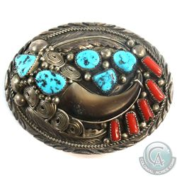 Navajo 'Elaine Sam' Sterling Silver Belt Buckle Inlayed with Turquise, Coral and Faux Bear Claw.  Th