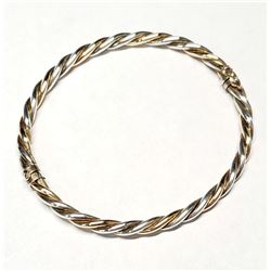 "Two-Tone Sterling Silver Twist-style Bangle with Clasp.  Measures approx. 2 1/4"" in Diameter."