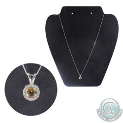 "10K White Gold Yellow Gemstone & Diamond Pendent on 18"" Chain.  Total weight of 1.56 grams."