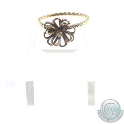 Lady's 10K Yellow Gold 3-Dimensional Flower with Diamond Accent Ring. - Size 6 1/2.  Total weight of
