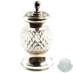 "1907 'Sheiffield' William Hutton & Sons Sterling Silver & Cut Glass Pepper Mill.  Stands 4"" in heigh"