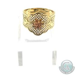 Lady's 14K 2-Tone Gold Ring with Rose Accent and Peirced Detailed Band- Size 9.  Total weight of 3.9