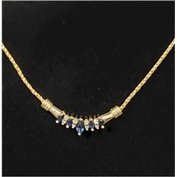 "Lady's 10K Yellow Gold Diamond & Sapphire Pendant Necklace. Meausres 17"" in length with Lobster Clas"