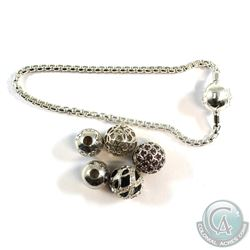 Sterling Silver Thomas Sabo Bead Charm Bracelet with 5 Charms. 6pcs.