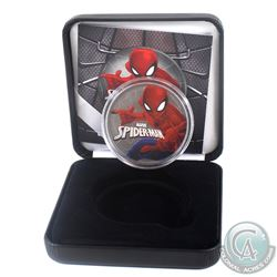 2017 Tuvalu $1 Coloured & Ruthenium Spiderman 1oz Fine Silver Coin (Tax Exempt) Comes with COA and d
