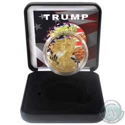 2018 United States $1 Gilt & Colourized Trump 1oz American Eagle (Tax Exempt) Comes with COA and dis