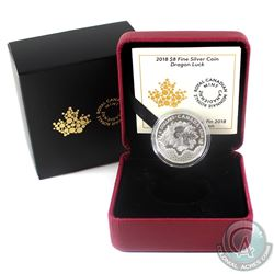 2018 Canada $8 Dragon Luck Fine Silver Coin (TAX Exempt)