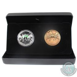 2018 Canada $30 CNIB 2-coin Set (Silver Coin & Bronze Medallion) Tax Exempt.  Note scratches on caps