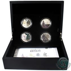 2014 United Kingdom 5-Pound Portrait of Britain 4-coin Sterling Silver Set.  Please note coins conta
