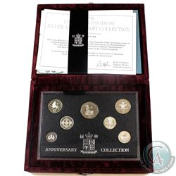 1996 United Kingdom Silver Anniversary 6-coin Proof Set.  Please note coins contain toning.
