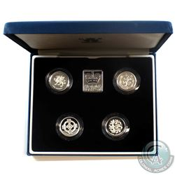 1994-1997 United Kingdom 1-Pound Silver Proof Peidfort Collection.