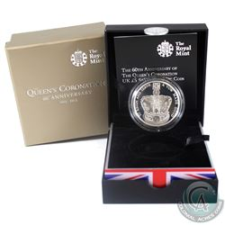 2013 United Kingdom 5-Pound the 60th Anniversary of the Queen's Coronation Silver Piedfort Coin. Not