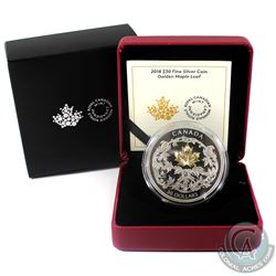 2018 Canada $30 Golden Maple Leaf 2oz Gold Plated Fine Silver Coin (Tax Exempt)