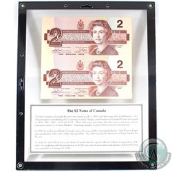 1986 Canada $2 'EBX' Replacement Note Uncut Collector Sheet of 2 in Display frame.