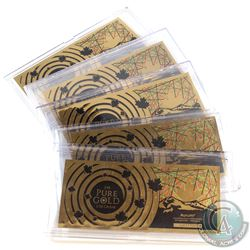 5x 1/10g 24k Pure Gold Maple Leaf Novelty Note Collection (Tax Exempt) 5pcs.