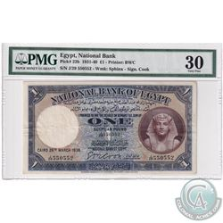 Egypt: 1931-40 1-Pound, Pick# 22b, National Bank, Sphinx,  S/N, PMG Certified VF-30. J/29 550552