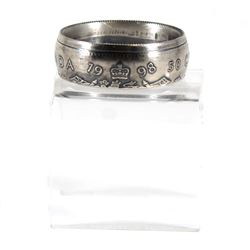 1998 Canada Silver 50ct Coin Custom Jewellery Ring Size 10 - Made from a real 50-cent coin!