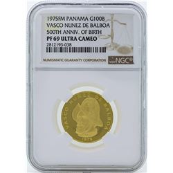 1975FM Panama 100 Balboas Proof Gold Coin NGC PF69 Ultra Cameo