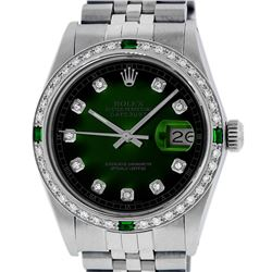 Rolex Men's Stainless Steel Green Vignette Diamond Datejust Wristwatch