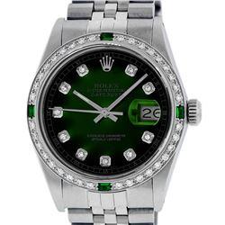 Rolex Men's Stainless Steel Green Vignette Diamond Datejust Wristwatch