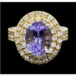 14KT Yellow Gold 4.20 ctw Tanzanite and Diamond Ring
