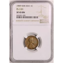 1909 VDB DDO Lincoln Wheat Cent Coin NGC XF45 BN FS-1101