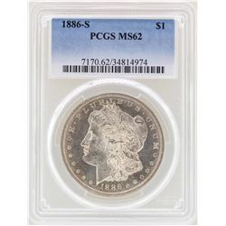 1886-S $1 Morgan Silver Dollar Coin PCGS MS62
